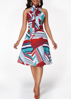 best=Sleeveless Tie Neck Multicolor Striped Dress , There are delicate lace prom dresses with sleeves, dazzling sequin ball gowns, and opulently beaded mermaid dresses. Dresses Elegant, Cute Dresses, Vintage Dresses, Sexy Dresses, Trendy Dresses, Dresses For Sale, Dresses Online, Dresses For Work, Summer Dresses