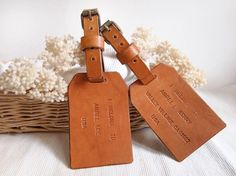 2 Personalized Luggage Tags in Set - Single Sided - Leather - Harlex Hand Stitched