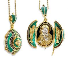 Emerald Egg Pendant Madonna Child Icon Silver Gold Tone 1 12 Inches -- See this great product.