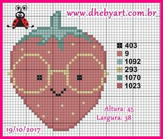 Kawaii Cross Stitch, Cross Stitch Baby, Cross Stitch Charts, Cross Stitching, Cross Stitch Embroidery, Hand Embroidery, Cute Strawberry, Anchor Pattern, Cross Stitch Kitchen