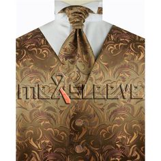 wedding formal wear man's gold floral  waistcoat (waistcoat+ascot tie+cufflinks+handkerchief)
