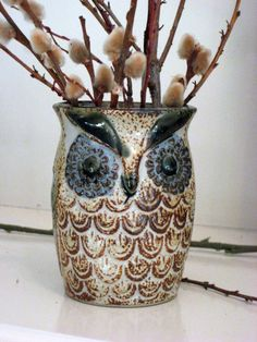 Vintage Pottery Owl Vase