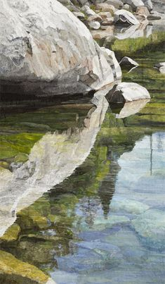 """Sierra Water, Fabric Collage, 58""""X34"""" by Merle Axelrod Serlin.  Quite frankly it is hard to believe that she can capture the reflection with such perfection in fabric.  A visit to this website is rewarded with rich art done in fabric!"""