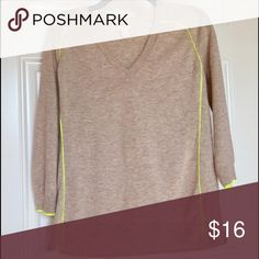"""JCrew Sweater Size Small JCrew Sweater Size Small- Cream color with neon yellow accents. Good condition. 55% Merino Wool, 45% Acrylic.                                      Measurements - Length- 24"""", Sleeve Length- 13"""" Bust (from Brand)- 34.5""""-35.5"""" J. Crew Sweaters V-Necks"""