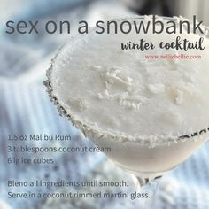 Winter cocktails are a lot of fun, especially this Sex on a Snowbank. This coconut drink is simple to make and fabulously delicious! Xmas Food, Christmas Drinks, Holiday Drinks, Fun Drinks, Beverages, Mixed Drinks, Christmas Foods, Holiday Foods, Summer Drinks