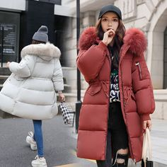 New Women's Winter long Down Cotton Ladies Parka Hooded Coat Quilted Jacket Outwear online. Perfect on the Womens Coats Jackets Womens Coats Jackets Winter Jackets Women, Coats For Women, Clothes For Women, Womens Parka, Baby Jeans, Outdoor Fashion, Quilted Jacket, Winter Wear, Feminine Fashion