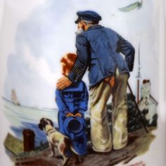 Norman Rockwell Looking Out to Sea Coffee Mug Cup Old Man Little Boy Grandfather #NormanRockwellMuseum
