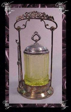 Pickle Castor ~ ( Wilcox ) Vaseline Pattern Glass ~ c1880's #Wilcox