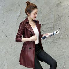 Mode Damen Schlank Kunstleder Trenchcoat Mäntel Jacken Windjacke Oberbekleidung   eBay
