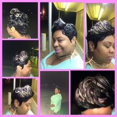 27 piece quick weave with pin curls, jet black, lavender, and platinum blonde