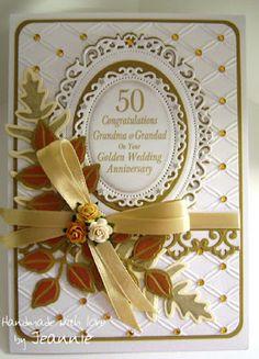 Jeannie's Crafty Little Bits: Golden Wedding Anniversary Card with Spellbinders Dies