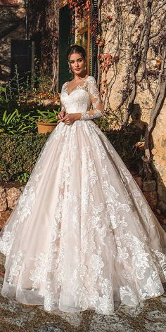 """Nora Naviano 2019 Wedding Dresses — """"Voyage"""" Bridal Collection nora naviano 2019 bridal long sleeves sweetheart neckline full embellishment princess romantic ball gown a line wedding dress sheer button back royal train mv -- Nora Naviano 2019 Wedding D Sheer Wedding Dress, Lace Wedding Dress With Sleeves, Long Sleeve Wedding, Long Wedding Dresses, Princess Wedding Dresses, Lace Sleeves, Bridesmaid Dresses, Weeding Dresses, Maxi Dresses"""