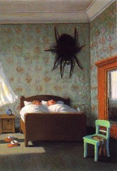 "I've had this nightmare.    ""Spider"" is the work of German artist and illustrator, Michael Sowa."