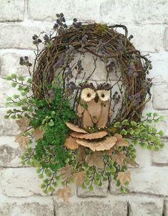 Owl Wreath Spring Wreath Summer Wreath for by AdorabellaWreaths Etsy Wreaths, Owl Wreaths, Wreaths For Front Door, Holiday Wreaths, Wreath Ideas, Silk Flower Wreaths, Burlap Flowers, Floral Wreath, Summer Wreath