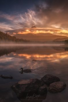 Morning Stroll ... Lenticular cloud view of Mt. Hood from Trillium Lake, Oregon | by Ryan Dyar on 500px