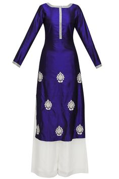 Blue embroidered motifs straight kurta and white palazzo pants set available only at Pernia's Pop Up Shop.