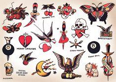 Sailor Jerry Tattoo Flash, Sailor Tattoos, Sailor Jerry Swallow, Traditional Tattoo Flash, Traditional Tattoo Artwork, Broken Heart Tattoo, Heart Dagger Tattoo, Original Flash, Vintage Tattoo Design