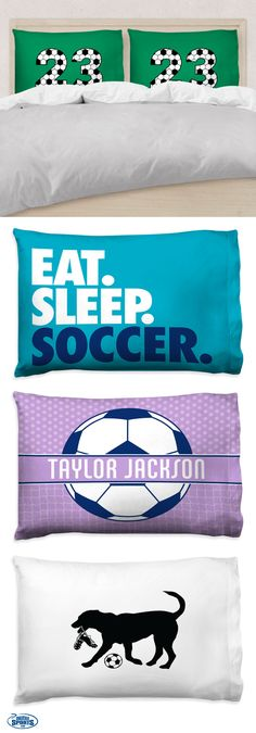 Soccer pillowcases — the perfect gift for any soccer player! Add a touch of soccer flair to their room — we know they'll love it! Soccer Gear, Soccer Gifts, Sports Gifts, Soccer Stuff, Nike Soccer, Soccer Cleats, Soccer Room Decor, Soccer Bedroom, Barcelona Soccer
