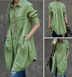 Green Long Sleeve Button Down Tunic Blouse