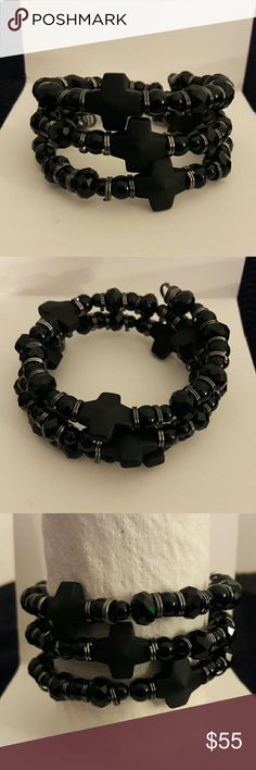 My unisex hand made coil bracelet 2-12mm beads. Black onyx with a hint of Grey. C. E. S. Creations  Jewelry Bracelets