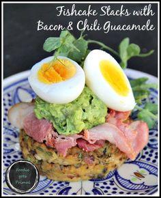 Fishcakes with Bacon & Guacamole {LCHF, Banting, Paleo} Banting, Lchf, Fishcakes, Primal Recipes, Good Fats, Seafood Recipes, Grain Free, Avocado Toast, Guacamole