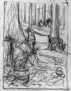 Beatrix Potter, 'Preliminary design for The Oakmen: the larchwood'