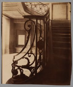Eugéne Atget(French, Hotel de rue des St Peres Thanks to yama-bato Interior Photography, Vintage Photography, Eugene Atget, Tu Me Manques, French Photographers, Documentary Photography, Stairways, Cool Art, Fine Art