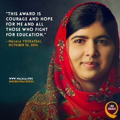 Malala Yousafzai Winner of the Noble Peace Prize October 10 2014