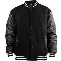 urban classics half leather college jacket schwarz/schwarz