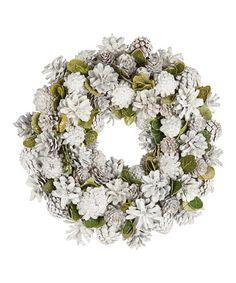 Look at this #zulilyfind! 11'' Veranda Winter Pinecone Wreath #zulilyfinds