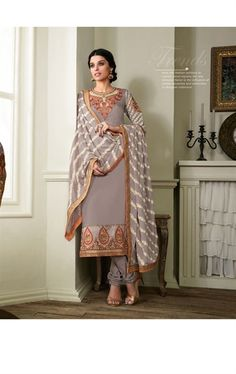 Incredible Grey Churidar Kameez with Designer Dupatta