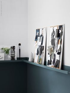 Moodboards, two colored wall with IKEA Ribba shelf as a divider. from IKEA Livet Hemma Half Painted Walls, Half Walls, Ikea Design, Inspiration Ikea, Interior Inspiration, Design Inspiration, Ikea Picture Ledge, Picture Rail, Two Tone Walls