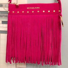 NEVER BEEN USED fridge mk purse Hot pink suede with gold detailing never been worn unavailable in stores no trades or PayPal comes with care card Michael Kors Bags
