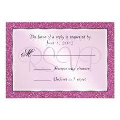 Elegant Sparkling Pink Sweet 16 Glitter RSVP Invitations