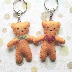 felt bear | Etsy - A pair of Felt Bears Keychain - with bow tie and a heart