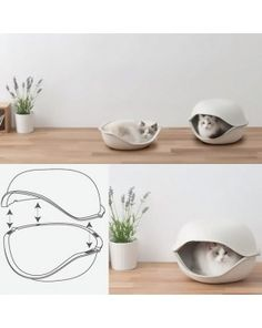 Cat Shell - Pulp materials - Gift idea for cat lovers - The Cat Shell is both a bed and hideaway, giving your pet a place to snuggle up and doze in style. The perfect gift for cats lover! - $48.00