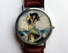 Vintage Mermaid Watch, Ladies Watch, Men's Watch, Nautical, Antique Mermaid, Unisex, Vintage Inspired, Collage, Analog, Gift Idea by 10northcreative on Etsy https://www.etsy.com/listing/198419356/vintage-mermaid-watch-ladies-watch-mens