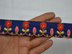 Wholesale Navy Blue Embroidered Sari Border Embellishments Indian Laces Decorative Embroidery Craft Supplies Home Decor Christmas Sewing Trim By 9 Yard You can purchase from What's App no. is also take wholesale enquiries. Coral Y Oro, Coral And Gold, Coral Blue, Navy Blue Saree, Saree Border, Fashion Tape, Gold Earrings Designs, Sewing Trim, Shopping