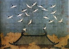 This is a painting entitled Auspicious Cranes by Huizong of Song (1082-1135) a Chinese emperor and painter during Song Dynasty.