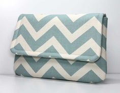 Clutch Purse  Dusty Blue and Cream Chevron  Made by OceanPearlBags, $25.00