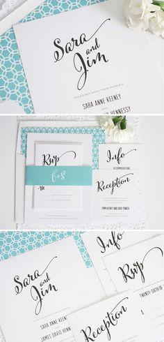 Modern aqua wedding invitations with a bold script! Love the circle pattern envelope liner! | Shine Wedding Invitations