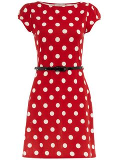 red spotted belted dress.  via dorothy perkins.