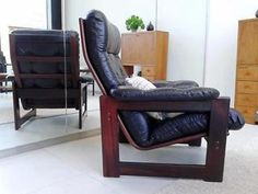 Vintage leren fauteuil Scandinavisch design Retro stoel Coja