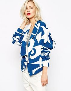 Vivienne Westwood Anglomania Jeans Drape Front Jacket In Circus Moon Star Print