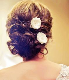 whimsical wedding hair | Flower: Single Bridal Mini Ivory Hair Flower with Pearls and Crystals ...