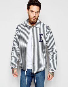 Edwin - Veste d'entraîneur en coton à rayures verticales et écusson logo