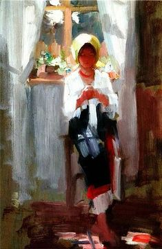 Nicolae Grigorescu (Romania, ~ Campina-Peasant Woman Working ~ He was one of the founders of modern Romanian painting. he studied at the École des Beaux-Arts in Paris. He was named honorary member of the Romanian Academy in Famous Artists, Great Artists, High Art, Cool Artwork, Art Oil, Female Art, Painting & Drawing, Modernism, Art Projects