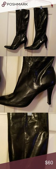 "Nine West Black Zippered Leather Black Leather Nairar Heel 3"" Knee high  Upper leather (196) Nine West Shoes Heeled Boots"