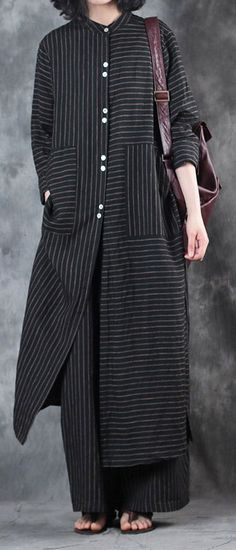 2018 women black stand collar linen long shirt and casual w. 2018 women black stand collar linen long shirt and casual wide leg pants Tese Look Fashion, Hijab Fashion, Fashion Outfits, Woman Fashion, Fashion Trends, Street Fashion, Fashion Tips, Trendy Dresses, Casual Dresses
