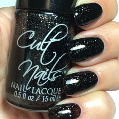 Cult Nails Passionate Dreams Collection:  ★  IGNITE ★ Black jelly polish with silver glitter